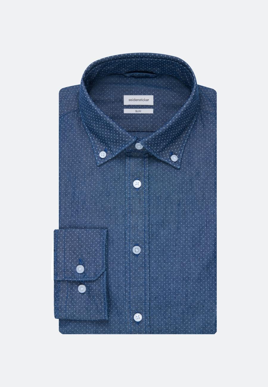 Easy-iron Chambray Business Shirt in Slim with Button-Down-Collar in Dark blue    Seidensticker Onlineshop