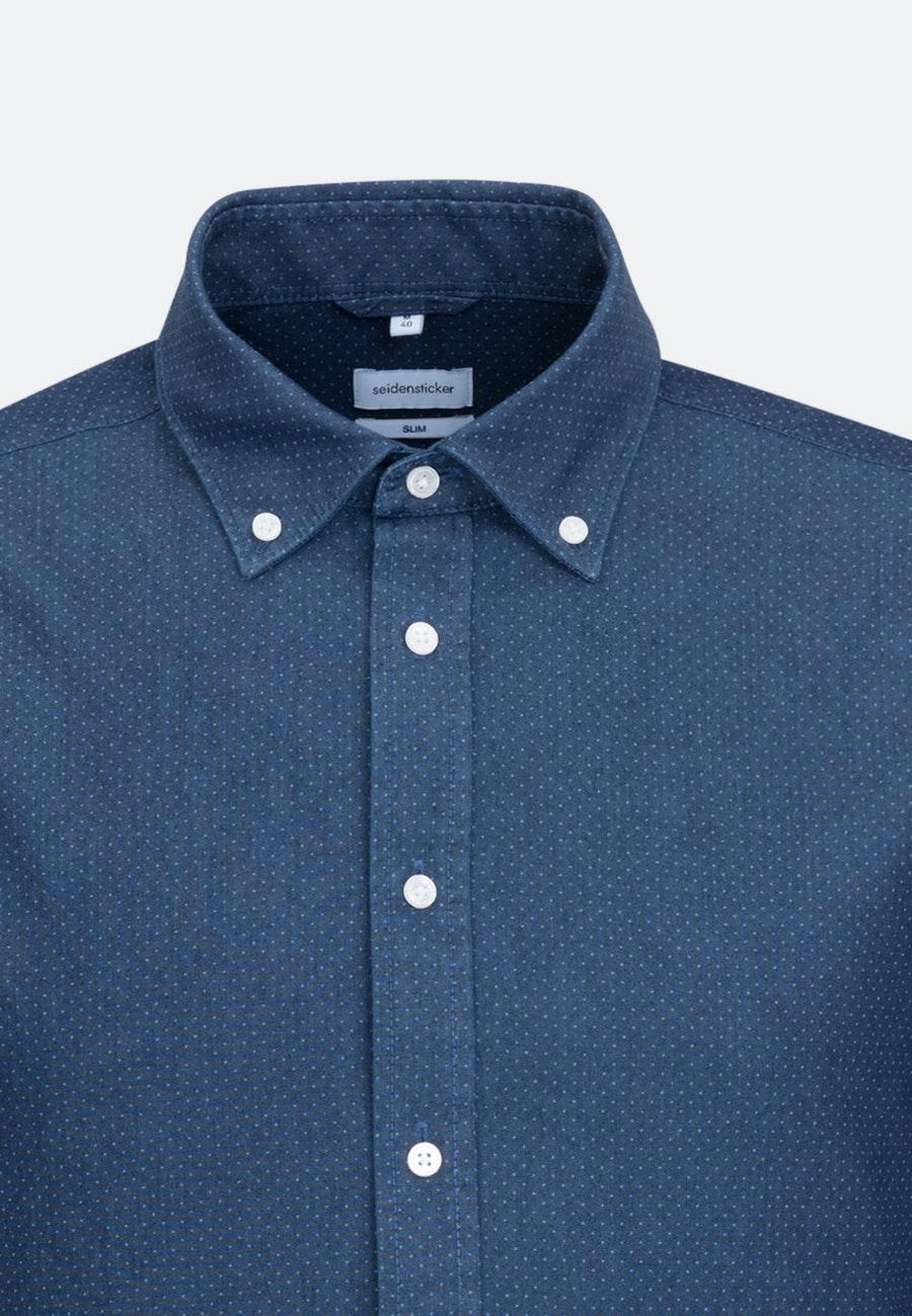 Easy-iron Chambray Business Shirt in Slim with Button-Down-Collar in Dark blue |  Seidensticker Onlineshop