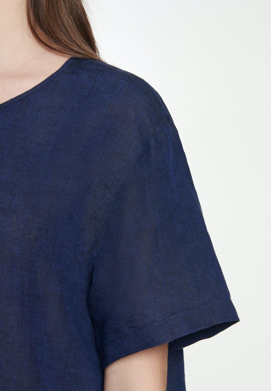 Kurzarm Leinen Shirtbluse aus 100% Leinen in Dunkelblau |  Seidensticker Onlineshop
