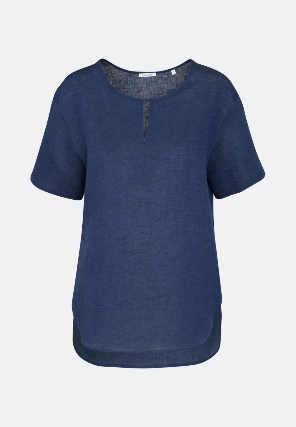 Short sleeve Linen Shirt Blouse made of 100% Linen in Dark blue |  Seidensticker Onlineshop