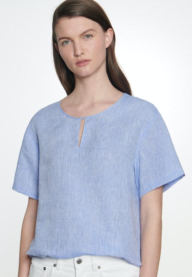 Kurzarm Leinen Shirtbluse aus 100% Leinen in Mittelblau |  Seidensticker Onlineshop