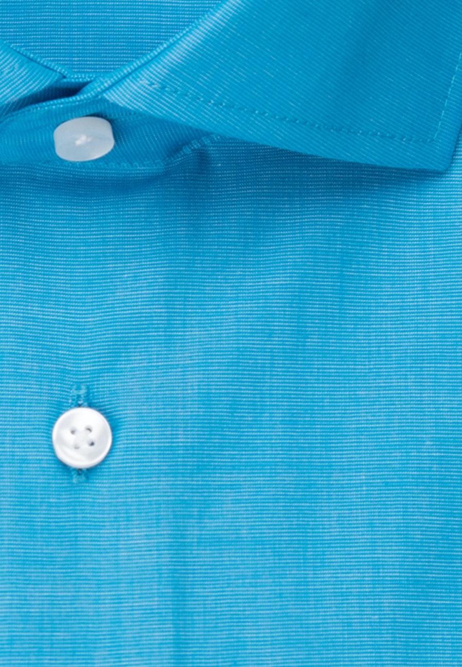 Bügelfreies Fil a fil Business Hemd in Shaped mit Kentkragen in Türkis/Petrol |  Seidensticker Onlineshop
