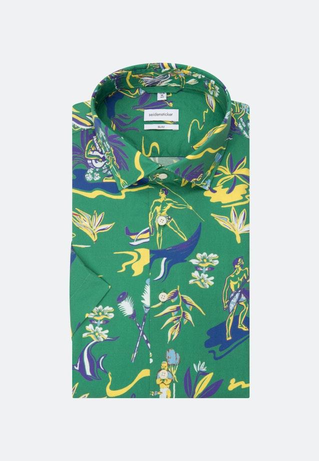 Bügelleichtes Popeline Kurzarm Business Hemd in Slim mit Kentkragen in Grün |  Seidensticker Onlineshop
