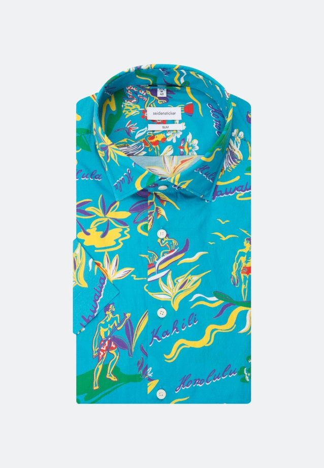 Easy-iron Popeline Short sleeve Business Shirt in Slim with Kent-Collar in Turquoise    Seidensticker Onlineshop