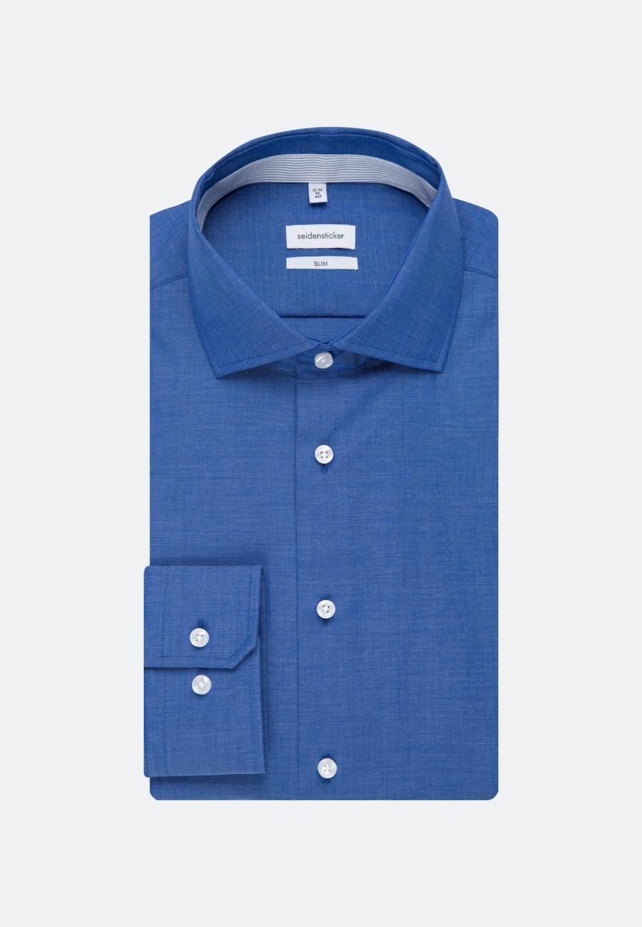 Bügelfreies Fil a fil Business Hemd in Slim mit Kentkragen in Mittelblau    Seidensticker Onlineshop