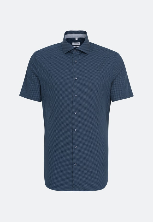 Easy-iron Poplin Short sleeve Business Shirt in Slim with Kent-Collar in Dark blue |  Seidensticker Onlineshop