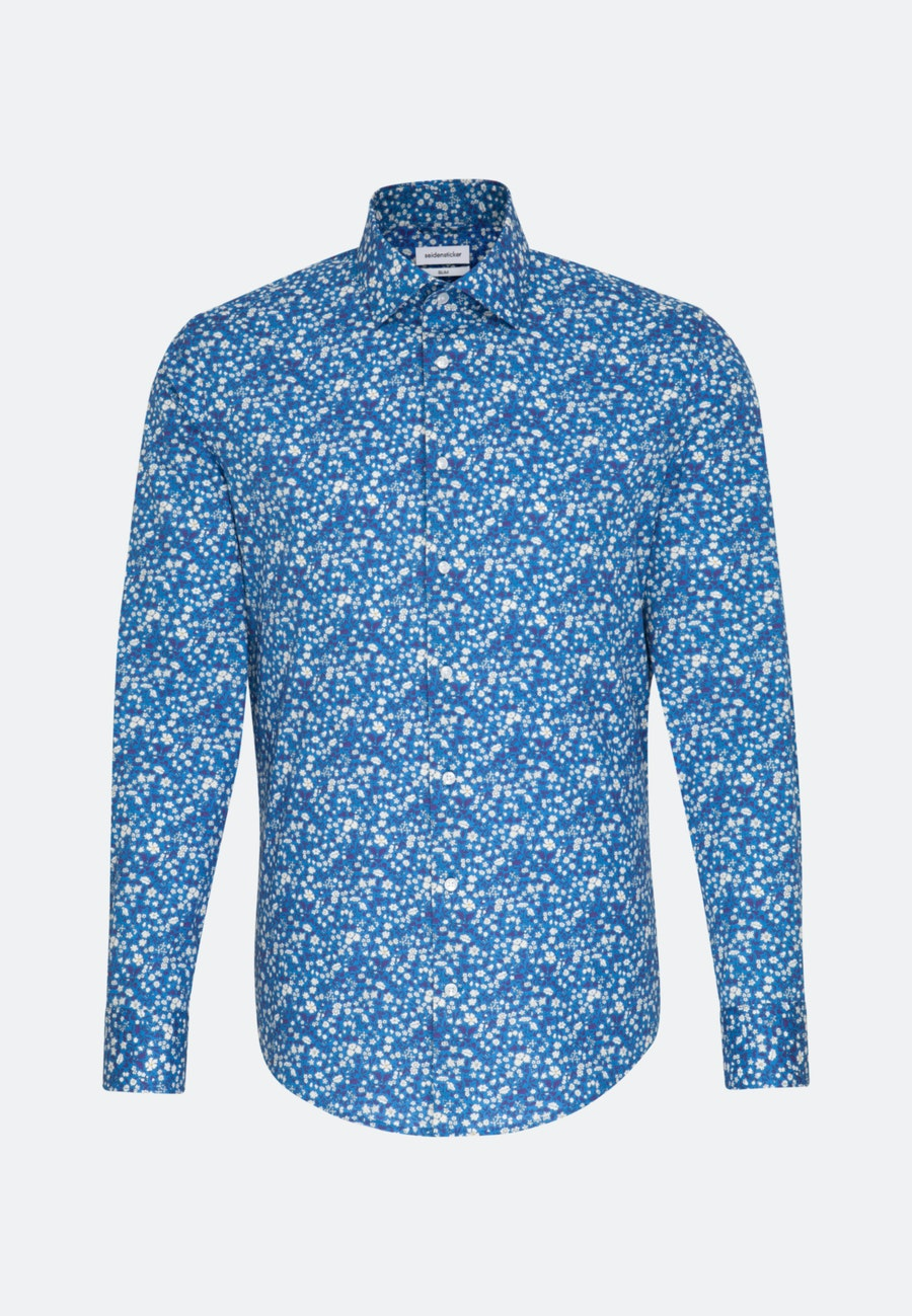 Easy-iron Popeline Business Shirt in Slim with Kent-Collar in Turquoise |  Seidensticker Onlineshop