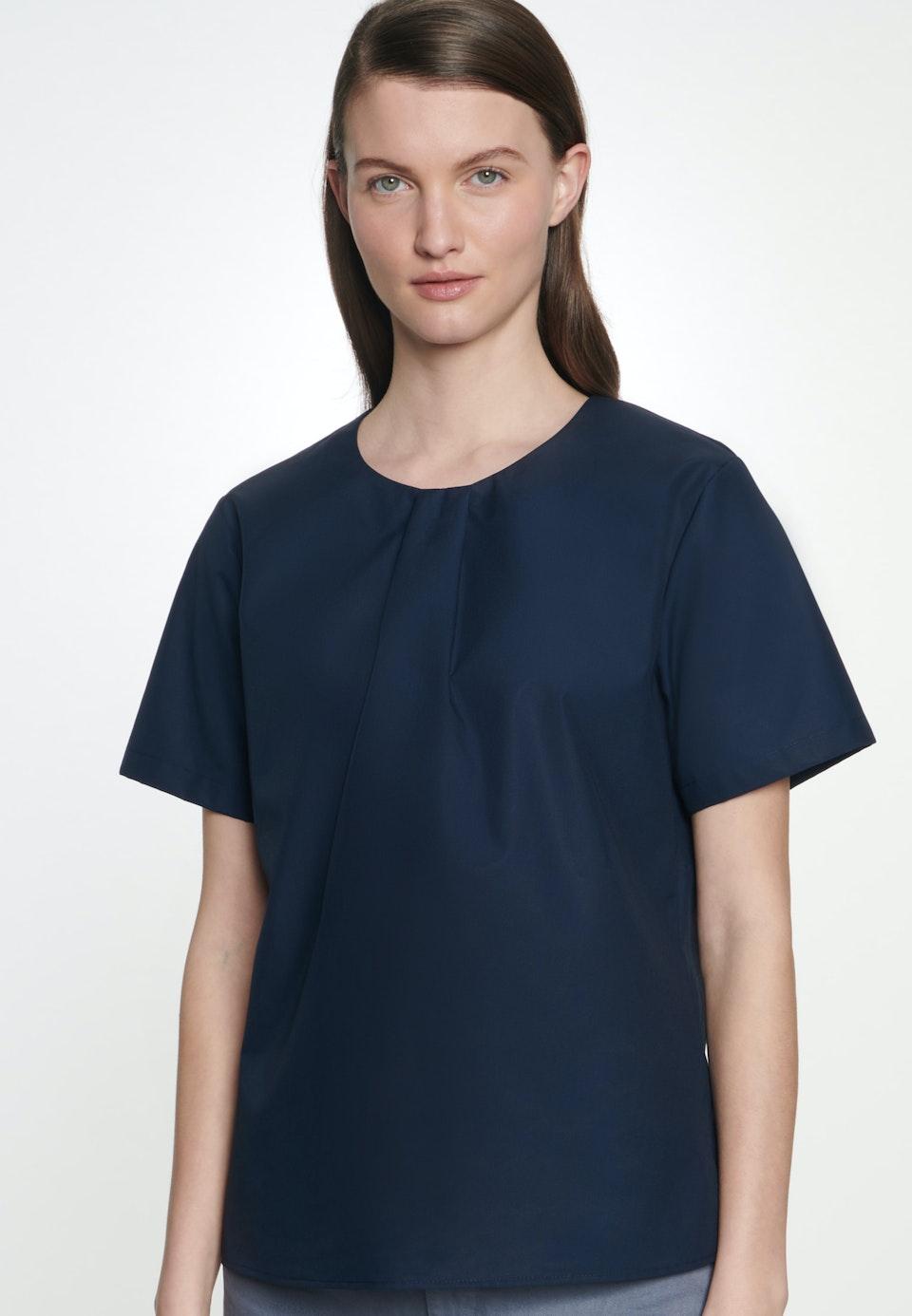 Kurzarm Popeline Shirtbluse aus 100% Baumwolle in Dunkelblau |  Seidensticker Onlineshop