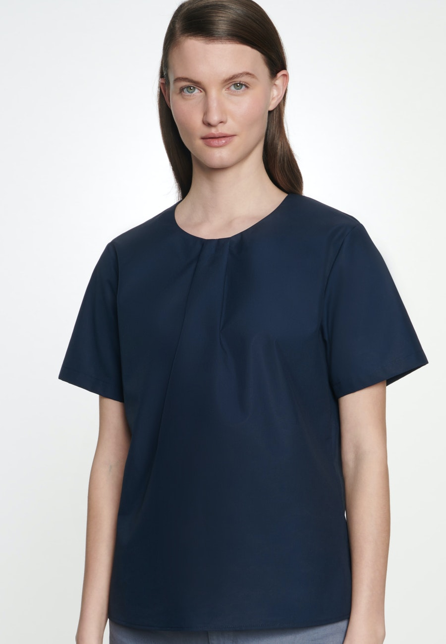Short sleeve Popeline Shirt Blouse made of 100% Cotton in Dark blue |  Seidensticker Onlineshop