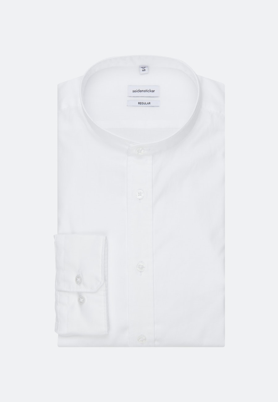 Easy-iron Twill Business Shirt in Regular with Stand-Up Collar in White |  Seidensticker Onlineshop