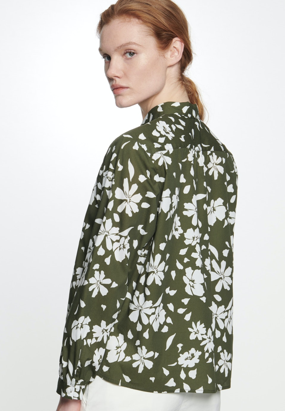 Popeline Shirt Blouse made of 100% Cotton in Green |  Seidensticker Onlineshop