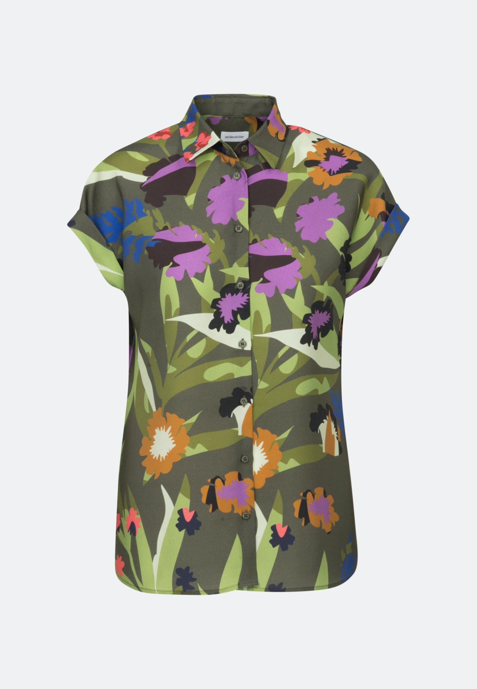 Women Short Sleeve Twill Shirt Blouse Made Of Tencel Blend Green 60 129481 0078 Seidensticker
