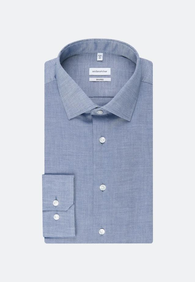 Bügelleichtes Struktur Business Hemd in Shaped mit Kentkragen und extra langem Arm in Mittelblau    Seidensticker Onlineshop