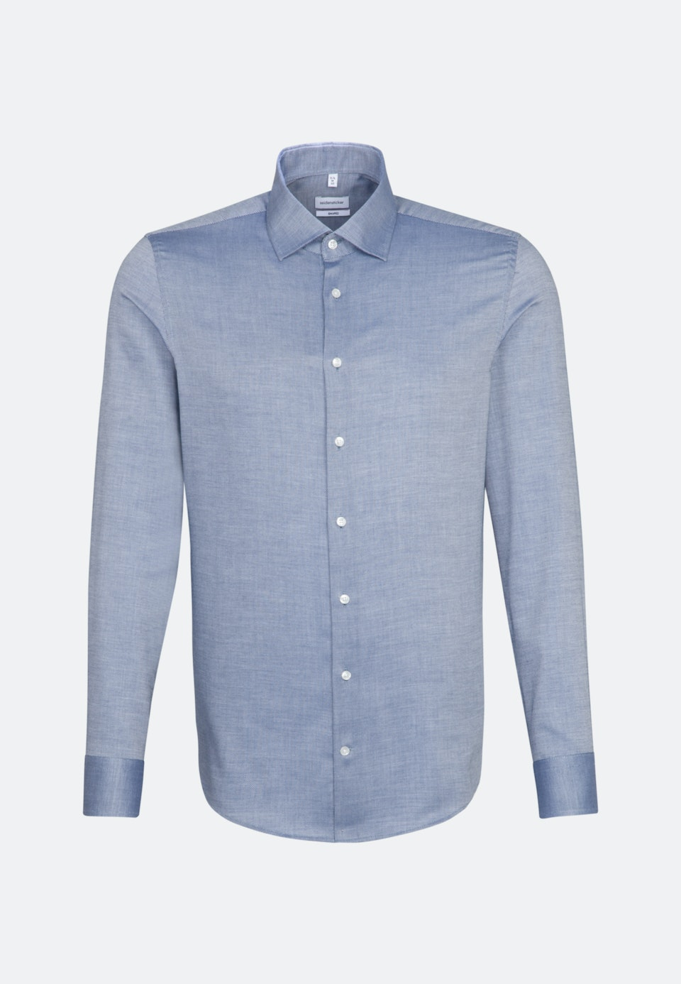 Easy-iron Structure Business Shirt in Shaped with Kent-Collar and extra long sleeve in Medium blue    Seidensticker Onlineshop