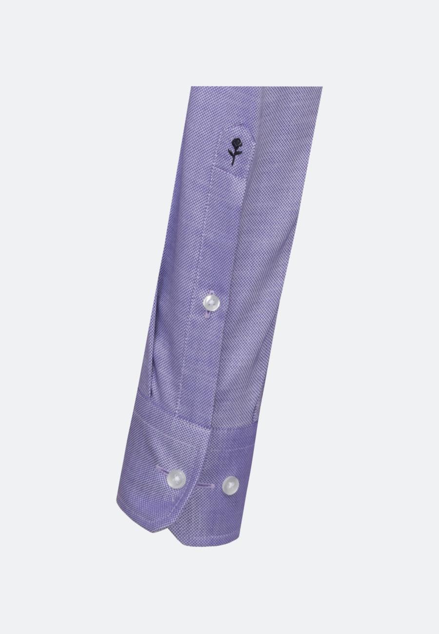 Bügelleichtes Struktur Business Hemd in Shaped mit Kentkragen und extra langem Arm in Lila    Seidensticker Onlineshop