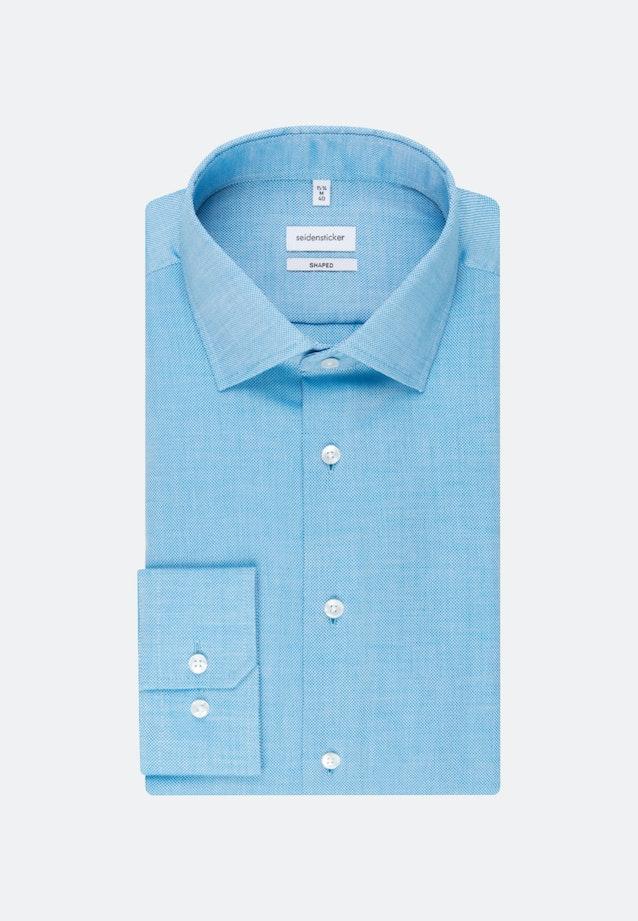 Bügelleichtes Struktur Business Hemd in Shaped mit Kentkragen und extra langem Arm in Türkis/Petrol |  Seidensticker Onlineshop