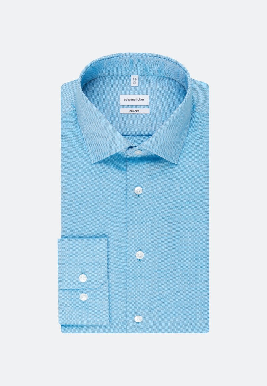 Easy-iron Structure Business Shirt in Shaped with Kent-Collar and extra long sleeve in Turquoise |  Seidensticker Onlineshop