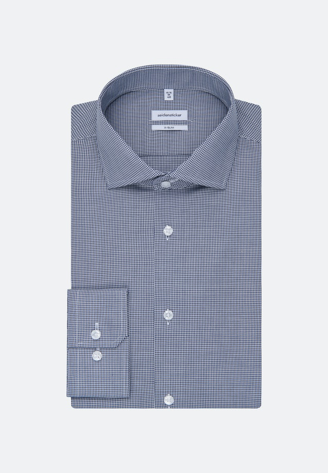Non-iron Poplin Business Shirt in X-Slim with Kent-Collar and extra long sleeve in Dark blue |  Seidensticker Onlineshop