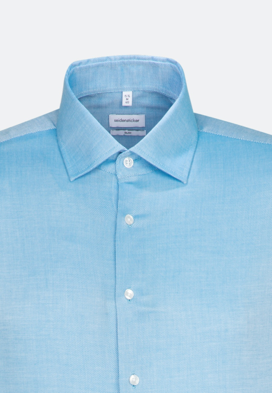 Easy-iron Struktur Business Shirt in Slim with Kent-Collar and extra long sleeve in Turquoise |  Seidensticker Onlineshop