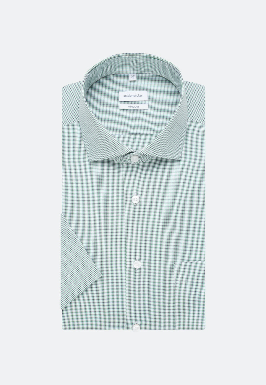 Non-iron Popeline Short sleeve Business Shirt in Regular with Kent-Collar in Green |  Seidensticker Onlineshop