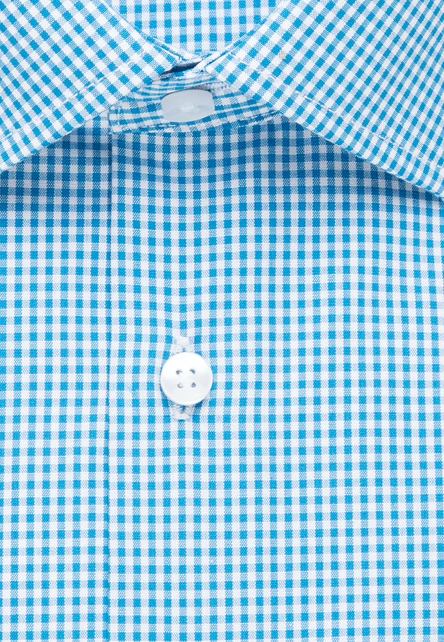 Non-iron Poplin Business Shirt in Shaped with Kent-Collar and extra long sleeve in Turquoise |  Seidensticker Onlineshop