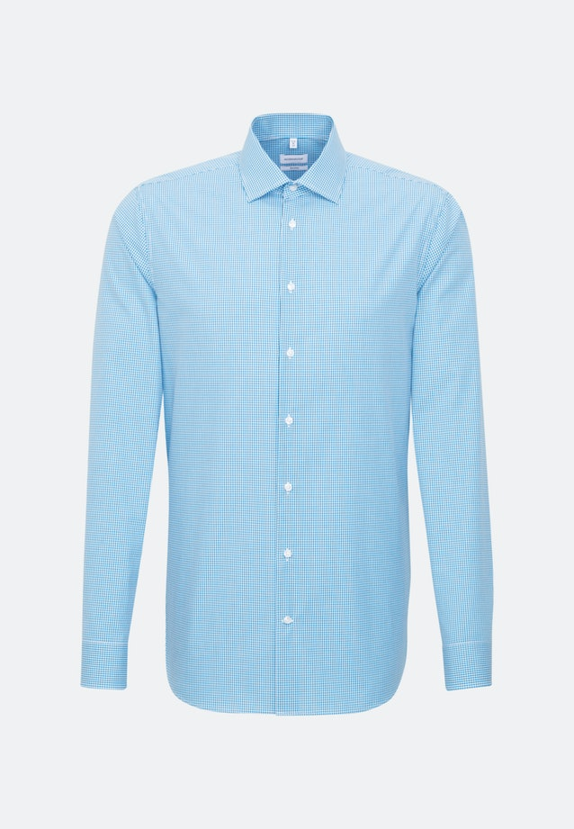 Non-iron Poplin Business Shirt in Shaped with Kent-Collar and extra long sleeve in Turquoise    Seidensticker Onlineshop