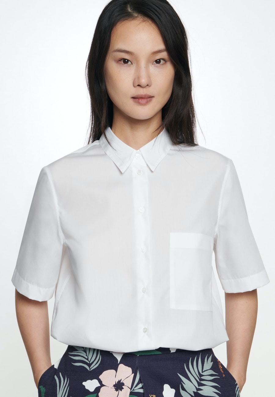 Short sleeve Popeline Shirt Blouse made of 100% Cotton in White |  Seidensticker Onlineshop