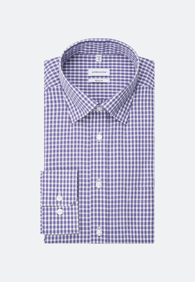 Non-iron Popeline Business Shirt in Regular with Covered-Button-Down-Collar in Purple |  Seidensticker Onlineshop