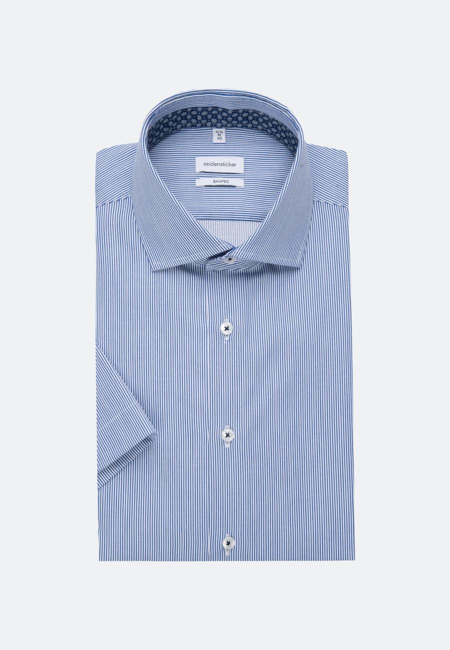 Bügelleichtes Twill Kurzarm Business Hemd in Shaped mit Kentkragen in Mittelblau    Seidensticker Onlineshop