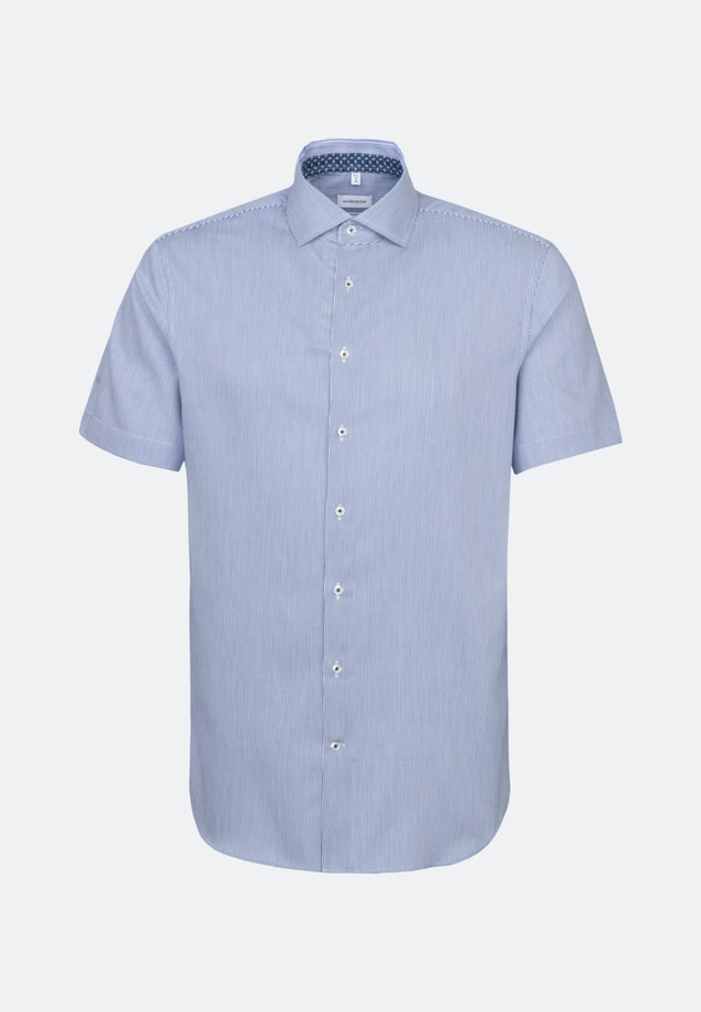 Bügelleichtes Twill Kurzarm Business Hemd in Shaped mit Kentkragen in Mittelblau |  Seidensticker Onlineshop