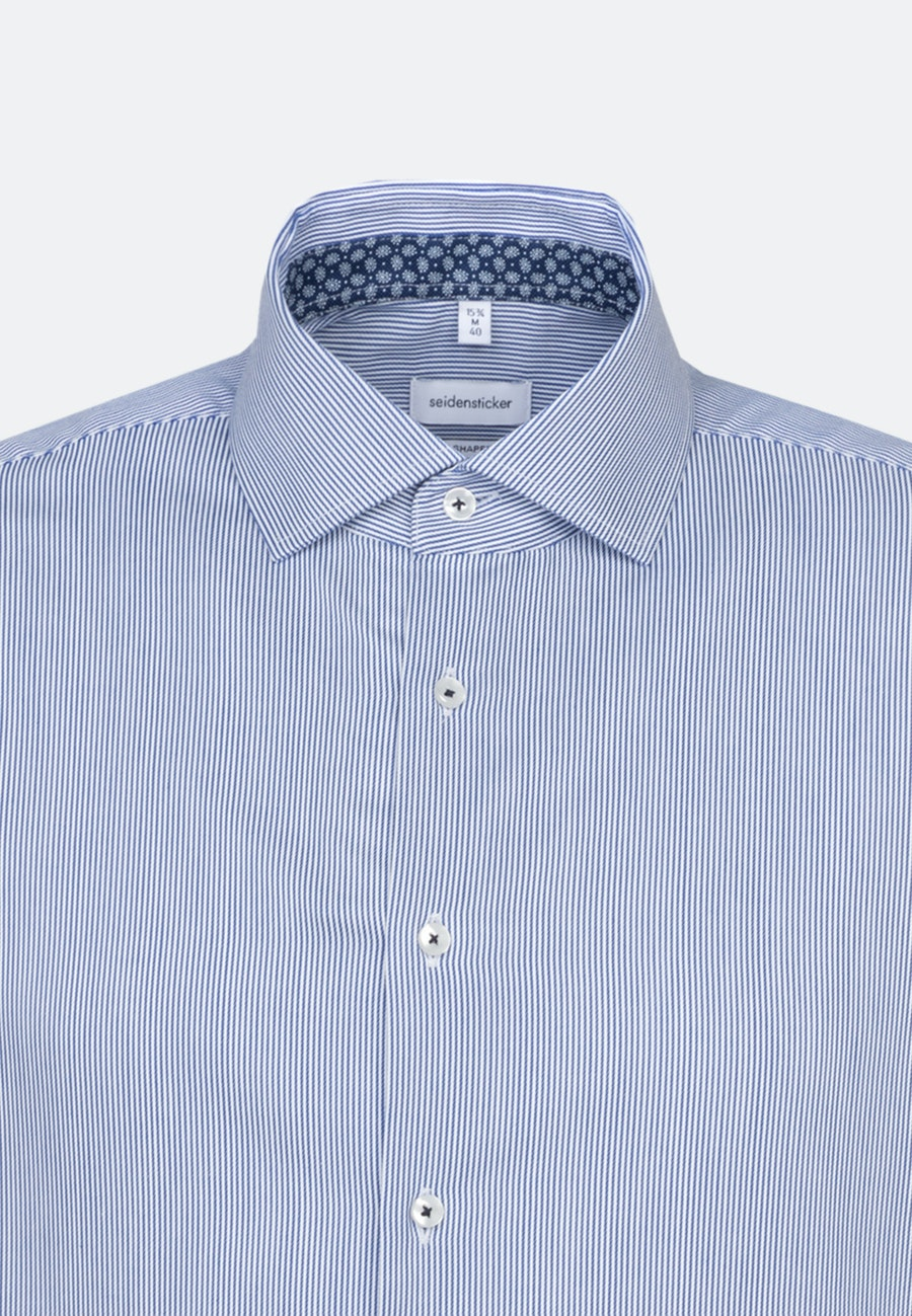 Easy-iron Twill Short sleeve Business Shirt in Shaped with Kent-Collar in Medium blue |  Seidensticker Onlineshop