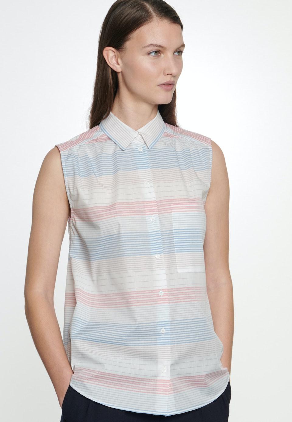 Ärmellose Voile Hemdbluse aus 100% Baumwolle in Mittelblau    Seidensticker Onlineshop