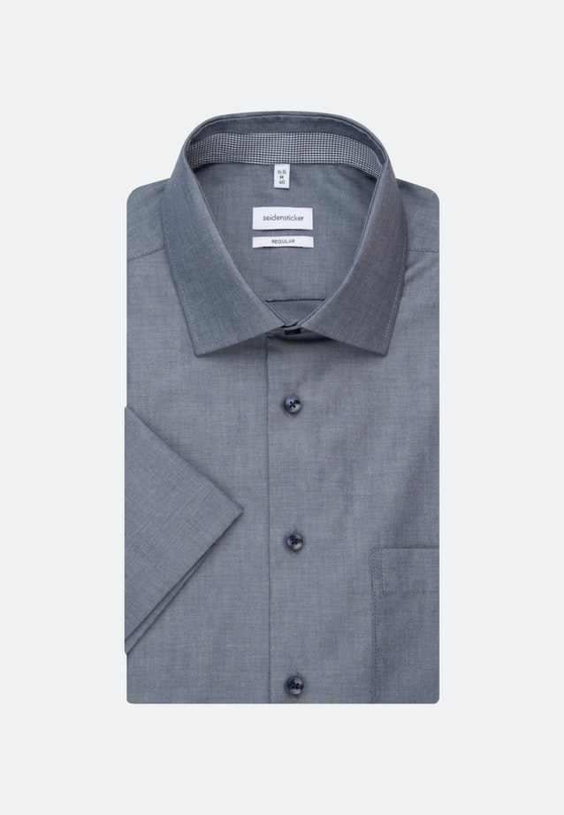 Non-iron Chambray Short sleeve Business Shirt in Regular with Kent-Collar in Dark blue |  Seidensticker Onlineshop