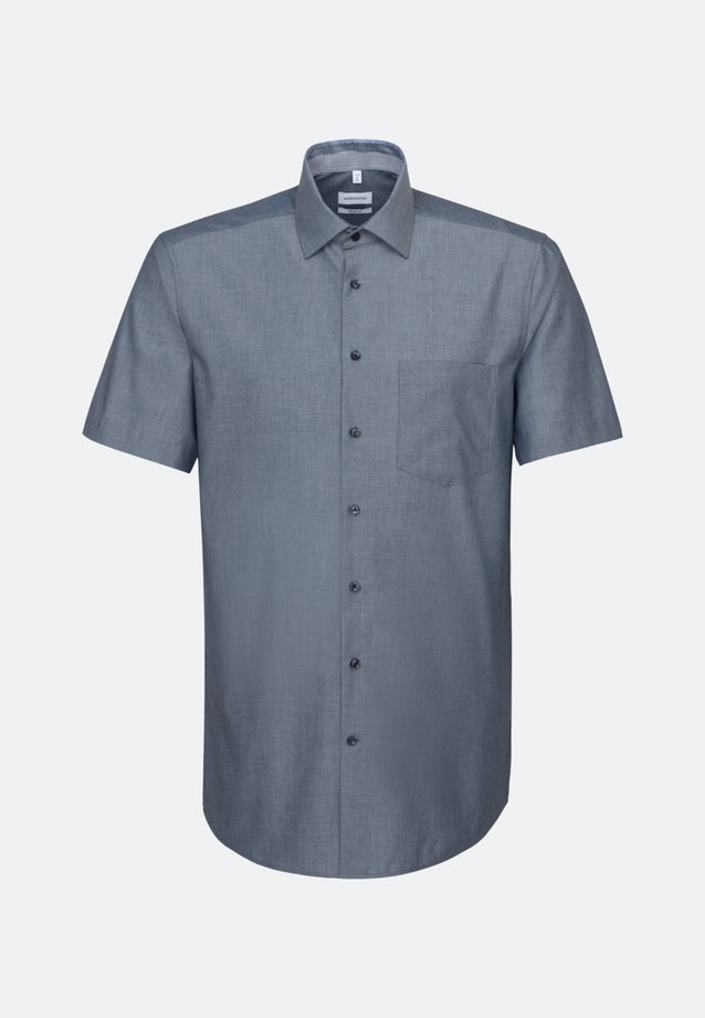Non-iron Chambray Short sleeve Business Shirt in Regular with Kent-Collar in Dark blue |  Seidensticker Onlineshop