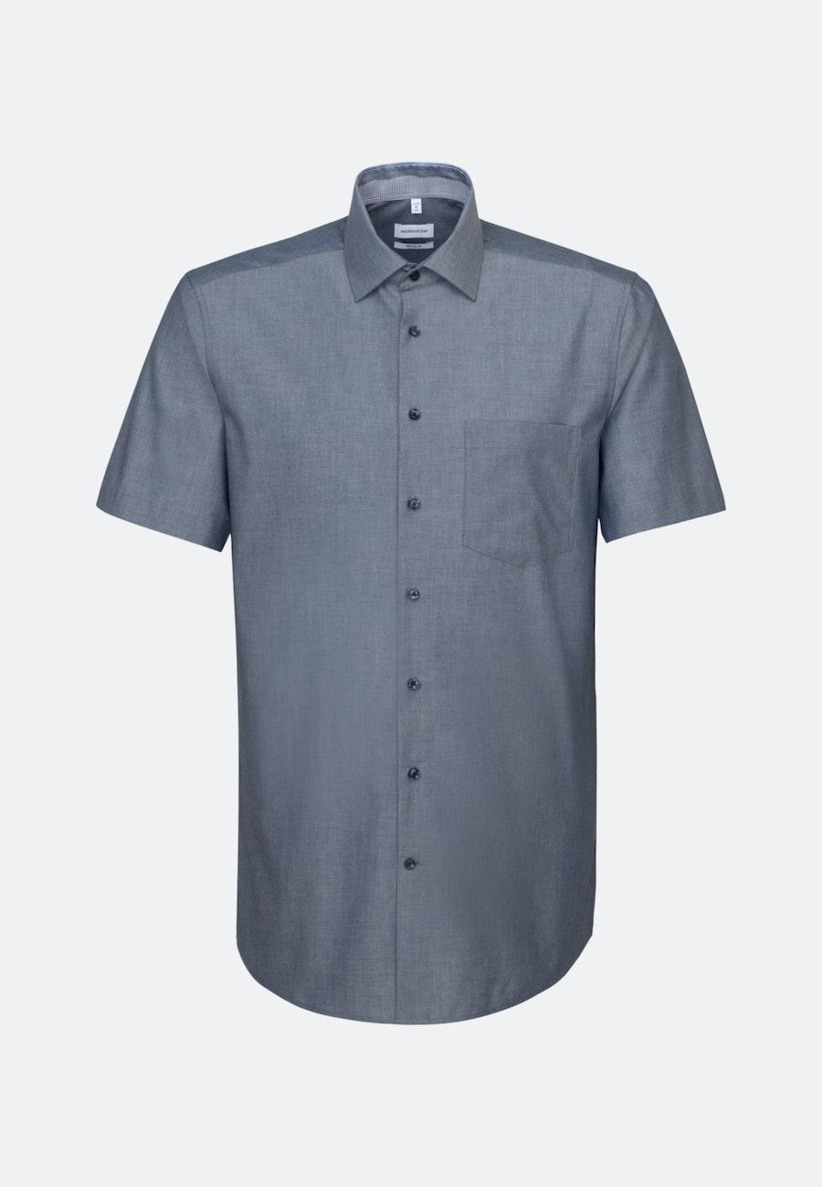 Bügelfreies Chambray Kurzarm Business Hemd in Regular mit Kentkragen in Dunkelblau    Seidensticker Onlineshop
