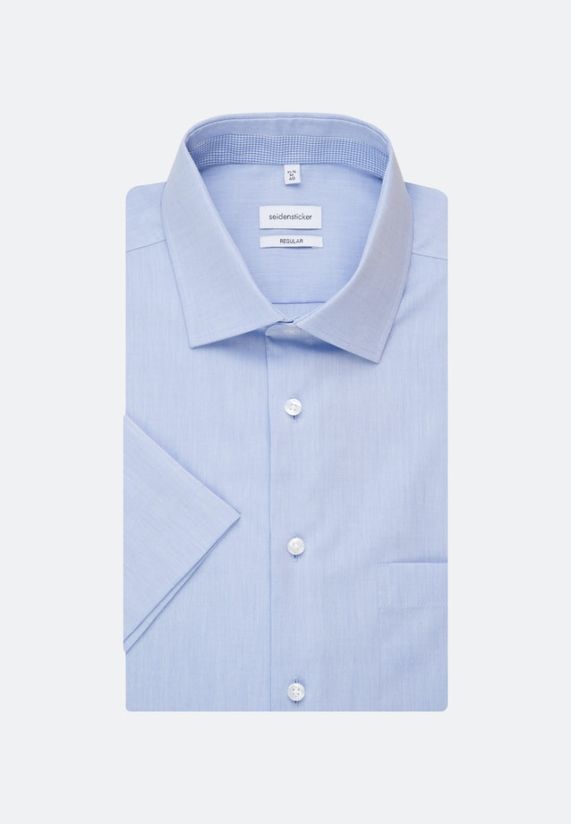 Non-iron Chambray Short sleeve Business Shirt in Regular with Kent-Collar in Light blue |  Seidensticker Onlineshop