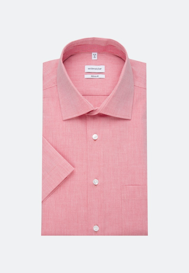 Non-iron Chambray Short sleeve Business Shirt in Regular with Kent-Collar in Red |  Seidensticker Onlineshop
