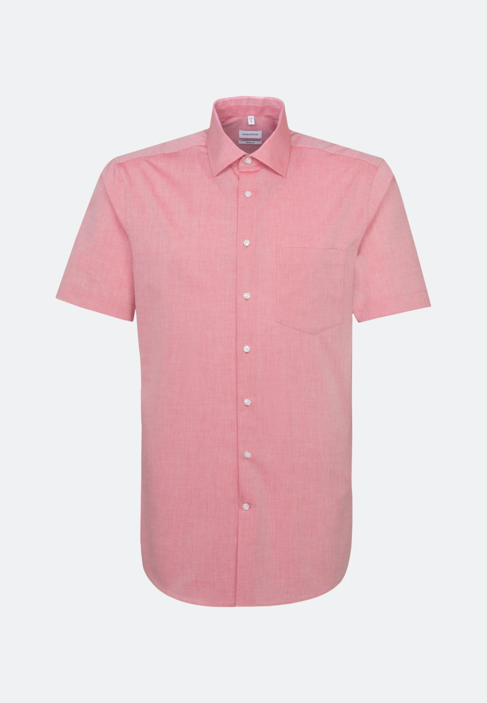 Bügelfreies Chambray Kurzarm Business Hemd in Regular mit Kentkragen in Rot    Seidensticker Onlineshop