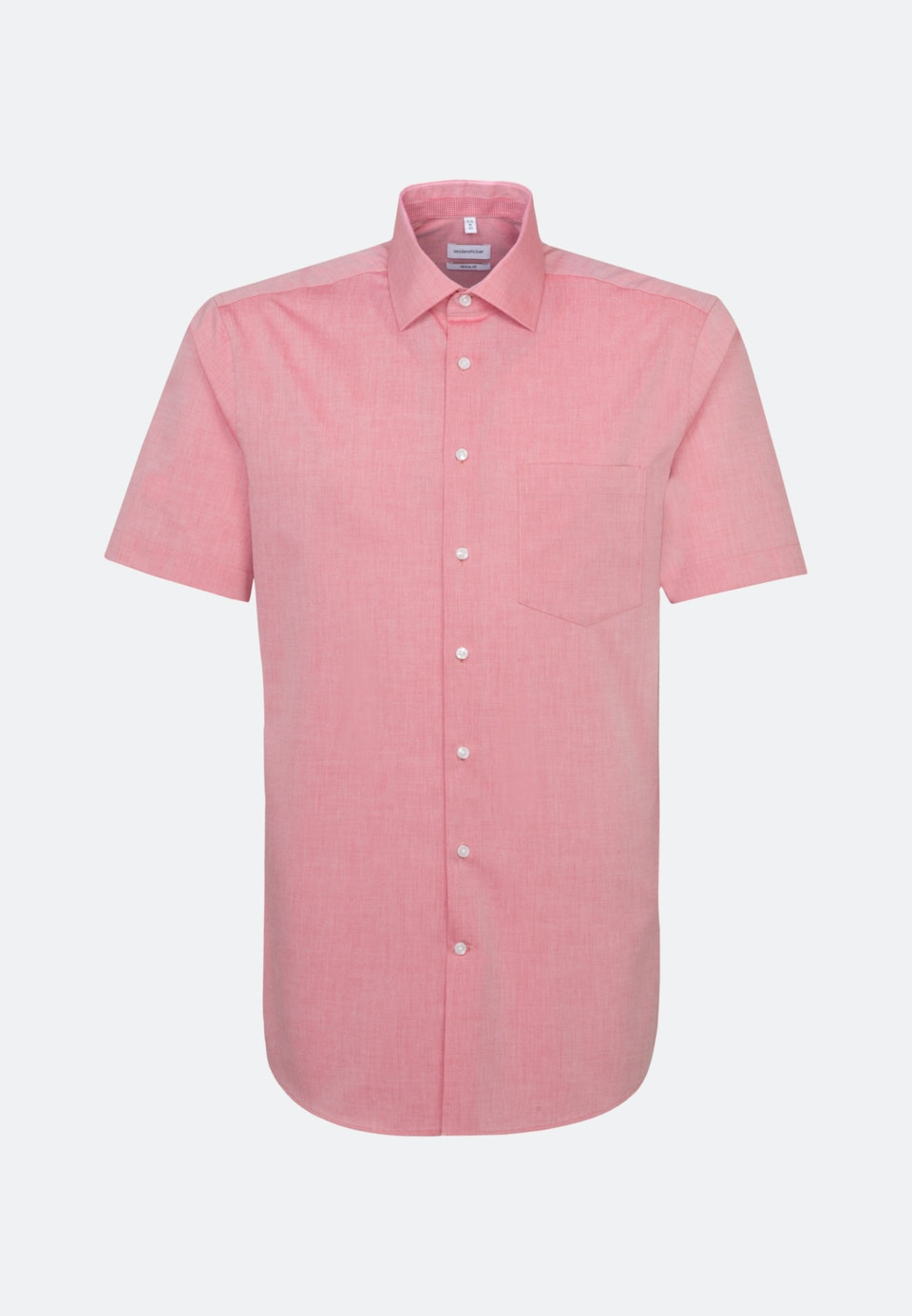Non-iron Chambray Short sleeve Business Shirt in Regular with Kent-Collar in Red    Seidensticker Onlineshop