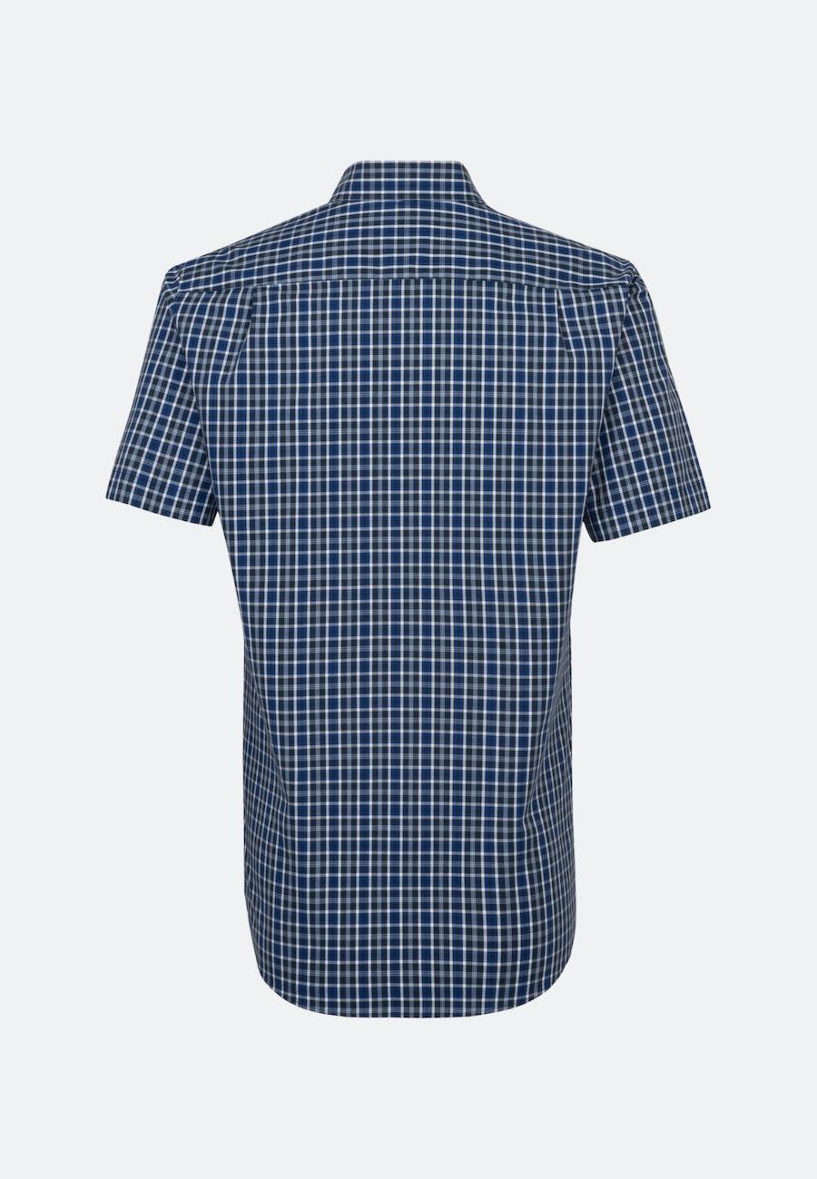 Bügelfreies Popeline Kurzarm Business Hemd in Regular mit Button-Down-Kragen in Mittelblau    Seidensticker Onlineshop