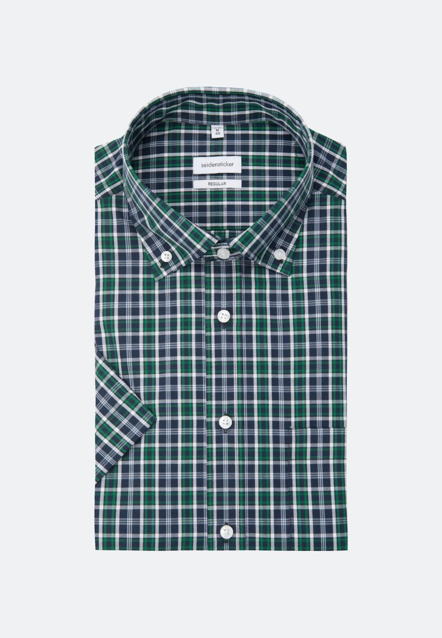 Non-iron Poplin Short sleeve Business Shirt in Regular with Button-Down-Collar in Green |  Seidensticker Onlineshop