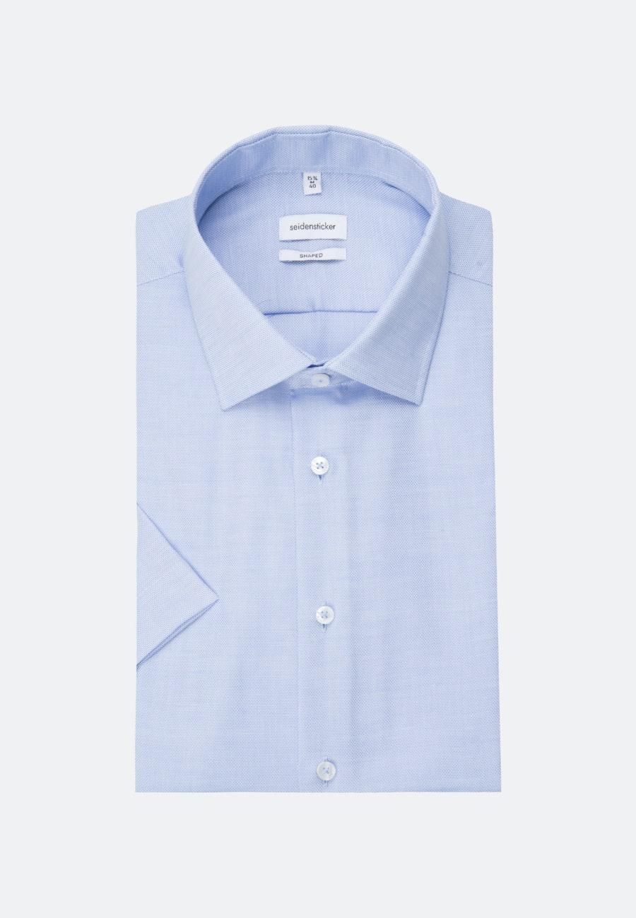 Bügelfreies Struktur Kurzarm Business Hemd in Shaped mit Kentkragen in Hellblau    Seidensticker Onlineshop