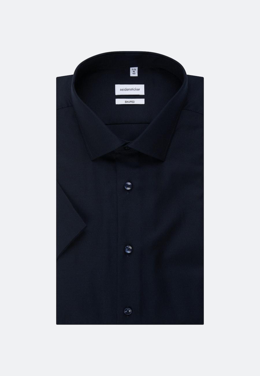 Bügelfreies Struktur Kurzarm Business Hemd in Shaped mit Kentkragen in Dunkelblau |  Seidensticker Onlineshop