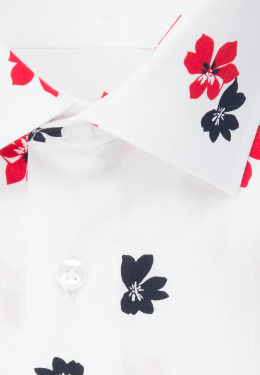 Bügelleichtes Popeline Kurzarm Business Hemd in Shaped mit Kentkragen in Weiß    Seidensticker Onlineshop
