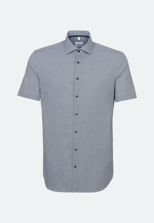 Non-iron Poplin Short sleeve Business Shirt in Shaped with Kent-Collar in Dark blue |  Seidensticker Onlineshop