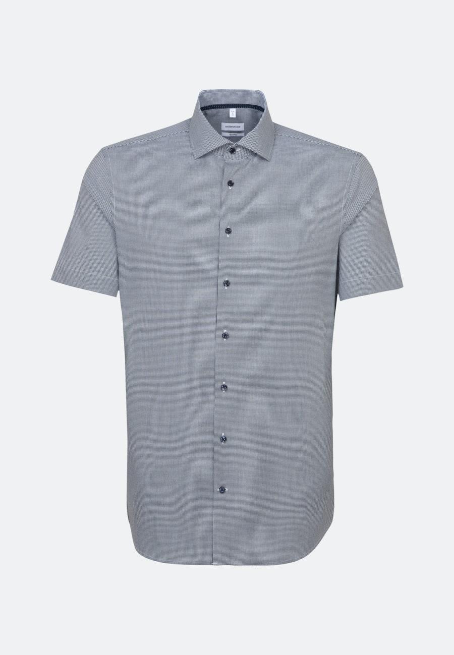 Non-iron Popeline Short sleeve Business Shirt in Shaped with Kent-Collar in Dark blue |  Seidensticker Onlineshop