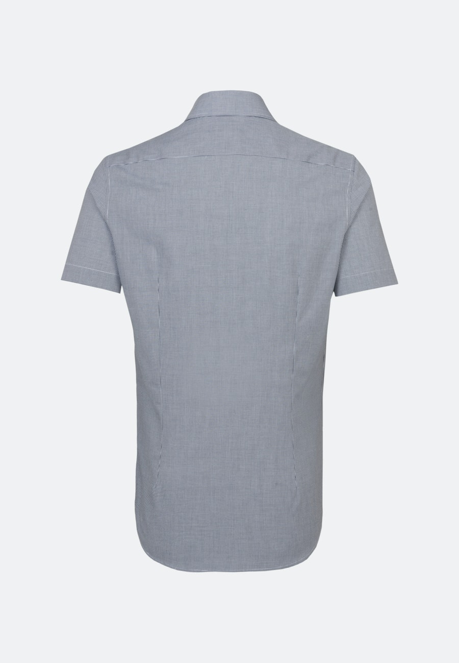 Non-iron Poplin Short sleeve Business Shirt in Shaped with Kent-Collar in Dark blue |  Seidensticker Onlineshop