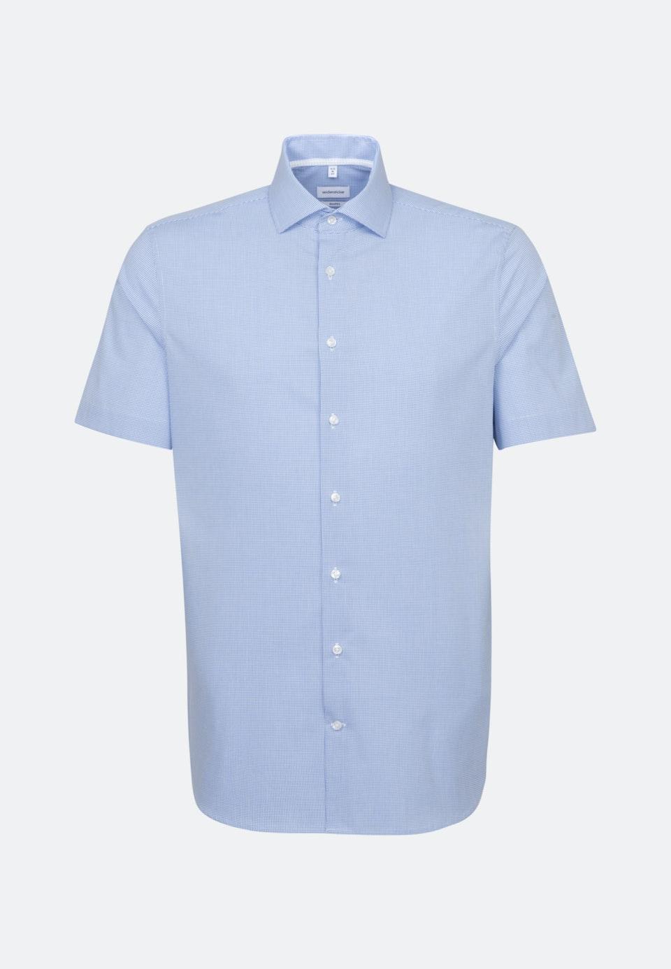 Non-iron Poplin Short sleeve Business Shirt in Shaped with Kent-Collar in Light blue    Seidensticker Onlineshop