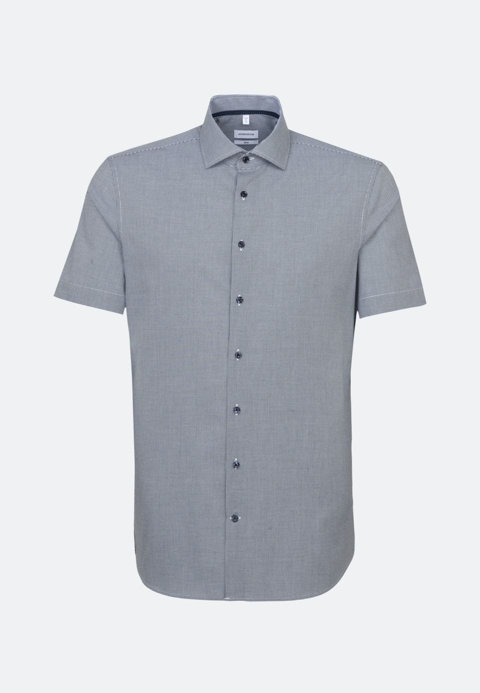 Non-iron Poplin Short sleeve Business Shirt in Slim with Kent-Collar in Dark blue |  Seidensticker Onlineshop