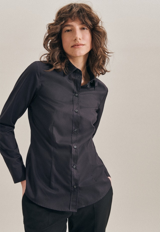 Non-iron Popeline Shirt Blouse made of 100% Cotton in Black |  Seidensticker Onlineshop